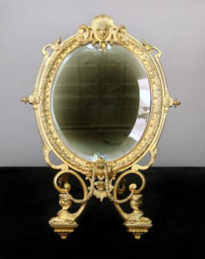 Oval Beveled Swiveling 19th Century Gilt Bronze Empire Style Dressing Table Mirror