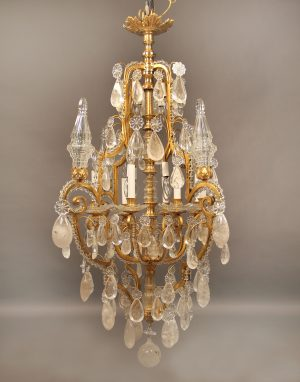 Early 20th Century Gilt Bronze & Rock Crystal Chandelier
