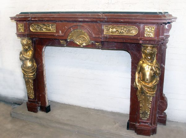 Very Fine & Palatial Late 19th Century Antique French Fireplace for Sale in NYC- Gilt Bronze Mounted Rouge Royal Marble Fireplace