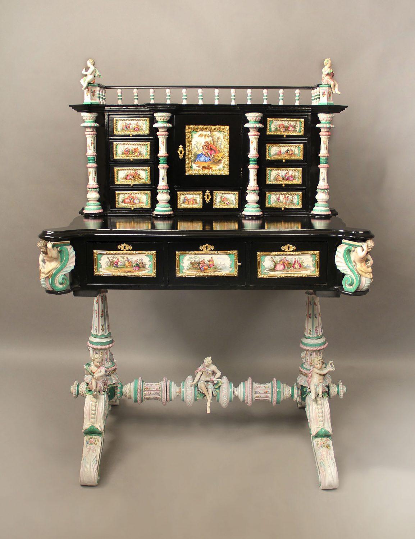 Late 19th Century Gilt Bronze Mounted German K.P.M. Porcelain Desk with Painted Porcelain Plaques