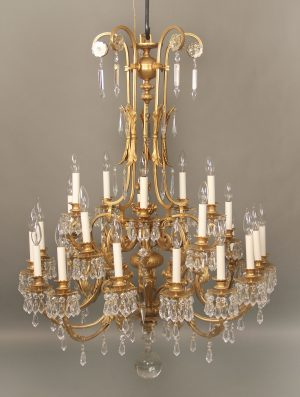 Fine Early 20th Century Gilt Bronze & Drop Crystal Twenty Five Light Chandelier