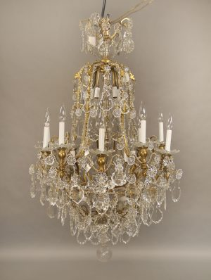 19th Century Bronze & Crystal Chandelier