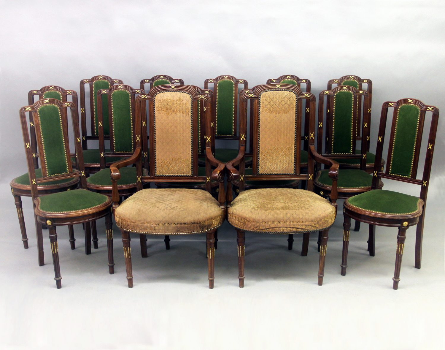 Set of Fourteen Late 19th Century French Antique - Gilt Bronze Mounted Transitional Style Dining Chairs