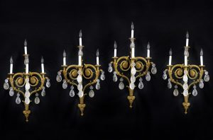 Impressive Set of Four Late 19th Century French Antique - Gilt Bronze & Rock Crystal Four Light Sconces