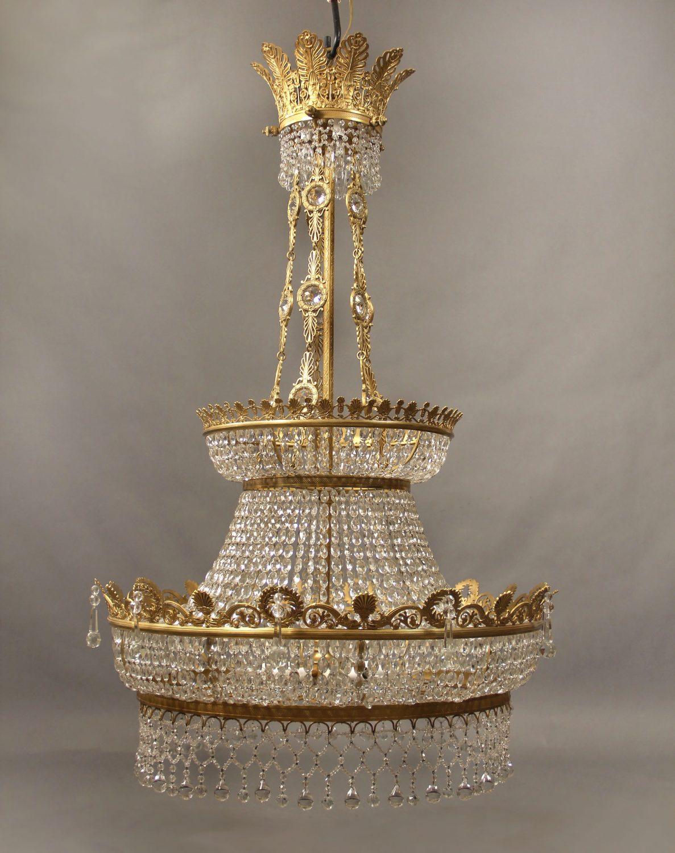 19th Century Gilt Bronze & Crystal Chandelier