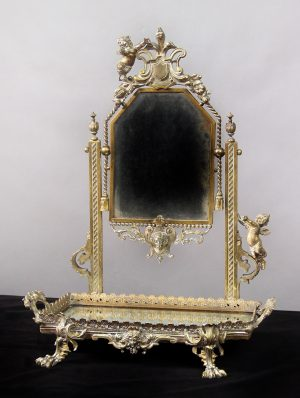 19th Century Antique Silver Plated Dressing Table Mirror