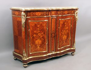19th Century Gilt Bronze Mounted Inlaid Marquetry Cabinet with Marble Top