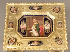 19th Century Antique Vienna Porcelain Plaque Top Table Showing Emperor Napoleon Flanked by his Wives