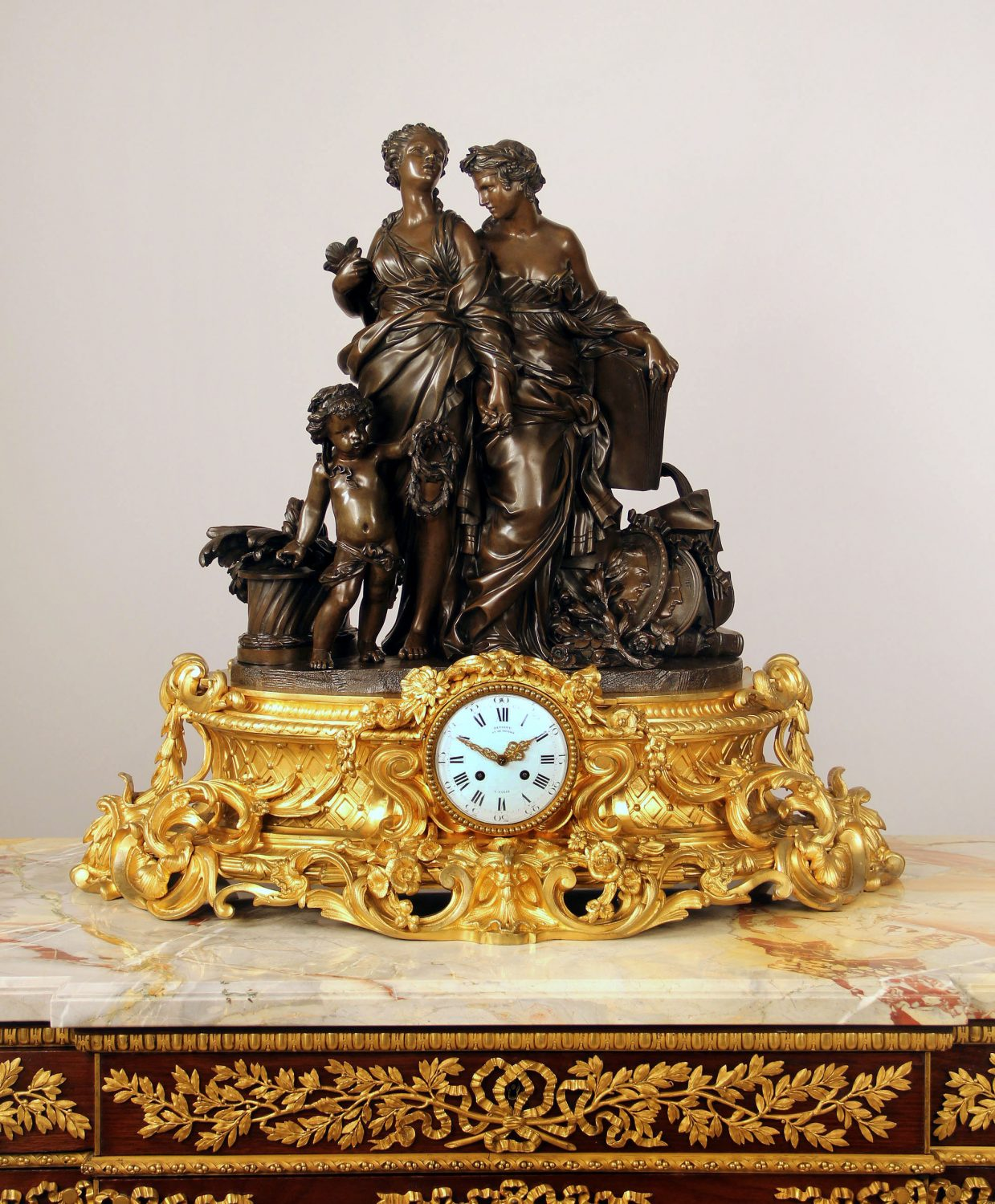 Late 19th Century Gilt and Patinated Bronze Figural Mantle Clock