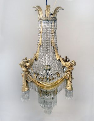 19th Century Gilt Bronze and Drop Crystal 15 Light Chandelier