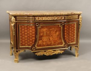 Louis XVI Style Inlaid Marquetry and Parquetry Commode