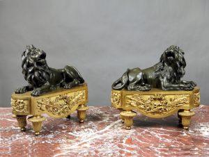 19th Century Gilt Bronze Chenets