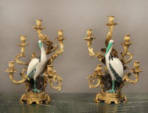 Lovely & Impressive Pair of Continental Gilt Bronze Mounted Porcelain Five Light Candelabra