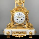 19th Century Bronze Mounted White Marble Mantle Clock with Laurel Leaves by Charpentier & Compagnie