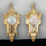 Exceptional Late 19th Century French Antique - Gilt Bronze Cartel Clock & Companion Barometer by Henry Vian After Jean Charles Delafosse