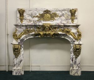 Antique Wood & Marble Fire Places