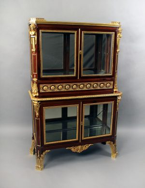 Antique Gilt Bronze Mounted Double Vitrine Cabinet By Henri Picard