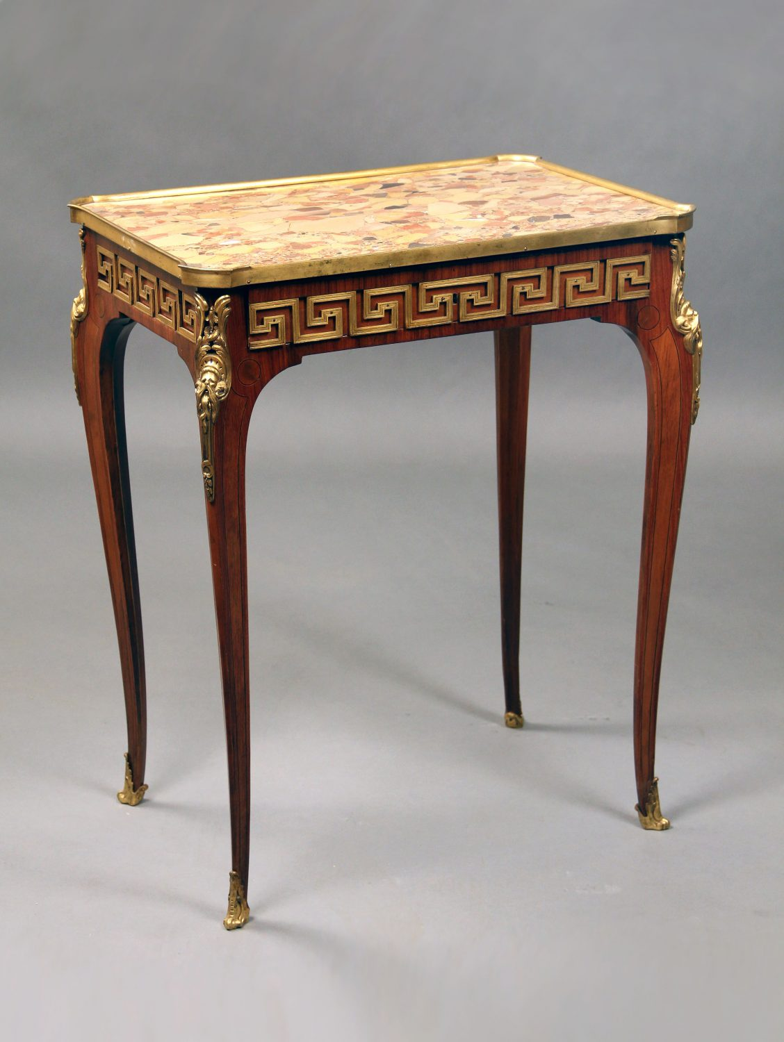 19th Century Louis XV Style Gilt Bronze Mounted Lamp Table with a Marble Top By Paul Sormani