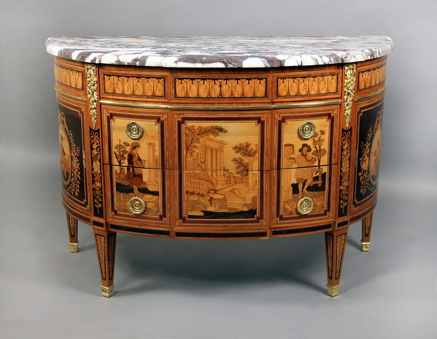 Louis XVI Style Inlaid Marquetry Commode