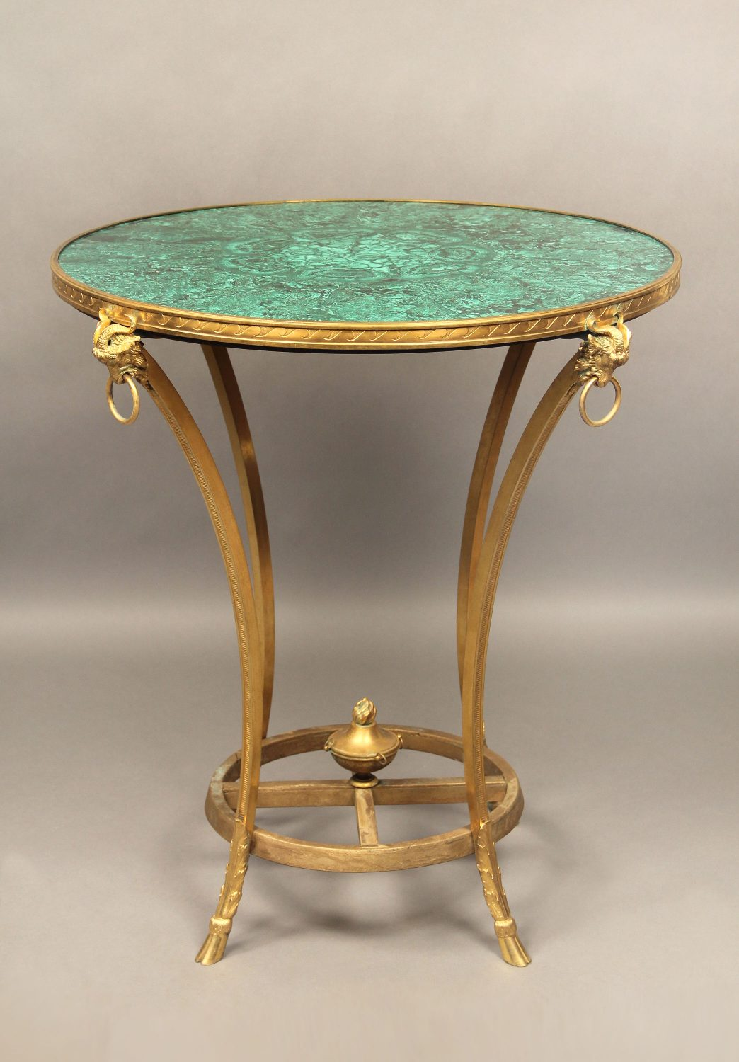 A Late 19th Century Gilt Bronze and Gilt Wood Mounted Empire Style Antique Malachite Lamp Table