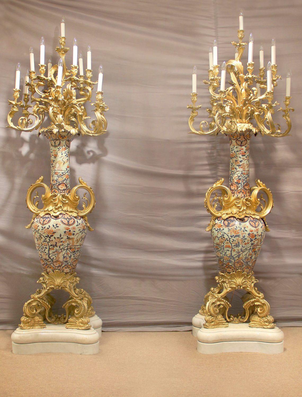 Gilt Bronze Torcheres & Plafornniers
