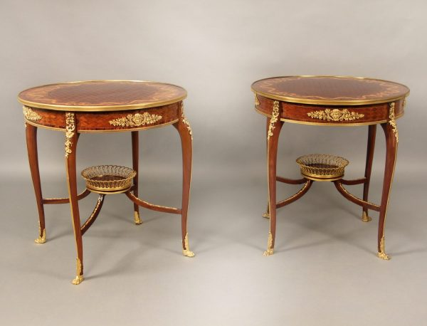Superb Late 19th Century French Antique - Louis XV Style Gilt Bronze Mounted Marquetry & Parquetry Top Lamp Table