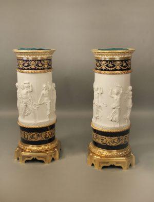 19th Century Sevres Style Biscuit & Cobalt Blue Porcelain Pedestals