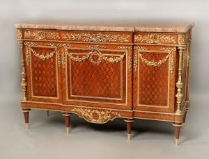 Late 19th Century Gilt Bronze Mounted Louis XVI Style Parquetry Commode By Zwiener Jansen Successeur