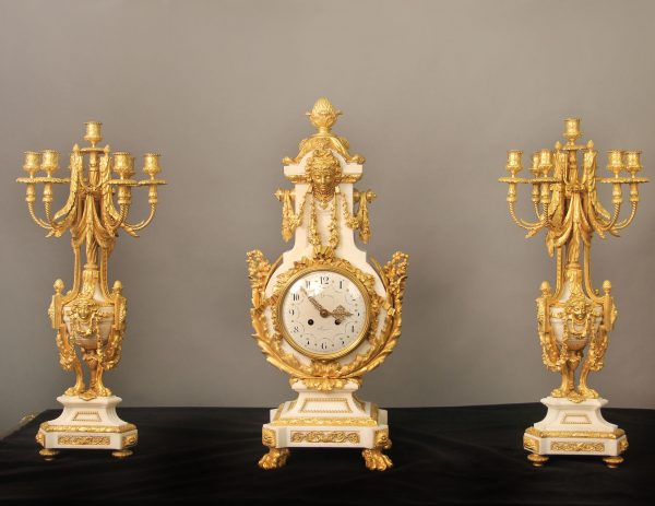 19th Century Gilt Table Clock Sets