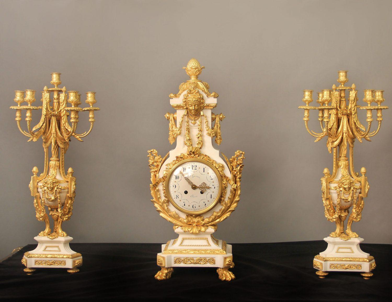 19th Century Gilt Table Clock Sets
