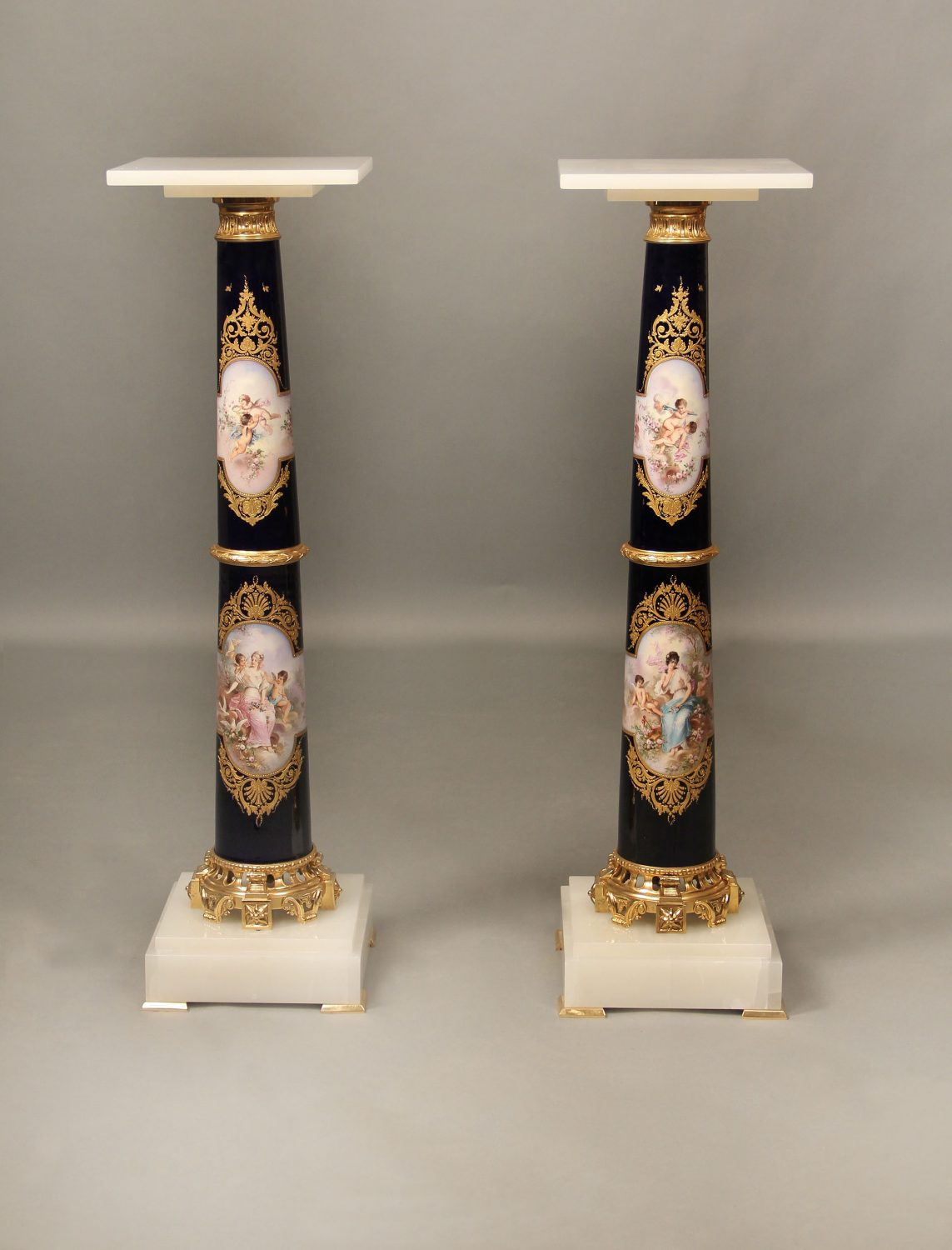 19th Century Mounted Onyx & Marble Pedestal