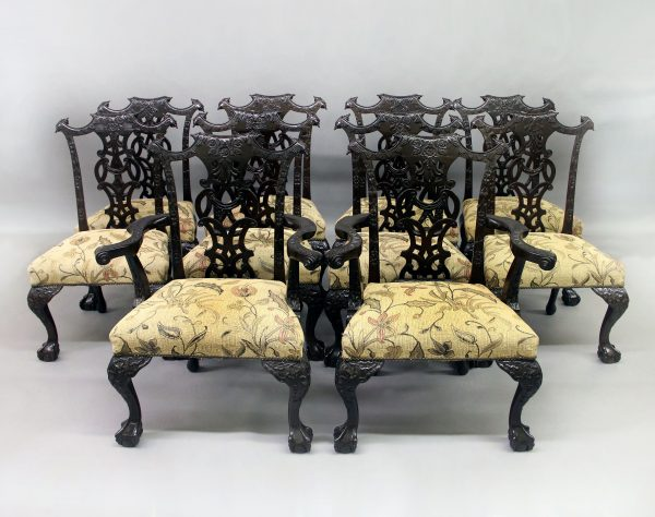 Fine Set of Ten Late 19th Century French Antique - Chippendale Style Dining Chairs