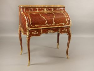 19th Century Louis XV Style Marquetry and Parquetry Bureau a Cylindre