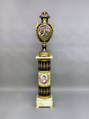 Rare 19th Century Antique Gilt Bronze Mounted Sèvres Style Napoleon Vase with Matching Pedestal
