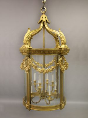 19th Century Gilt Bronze Palatial Eight Light Lantern