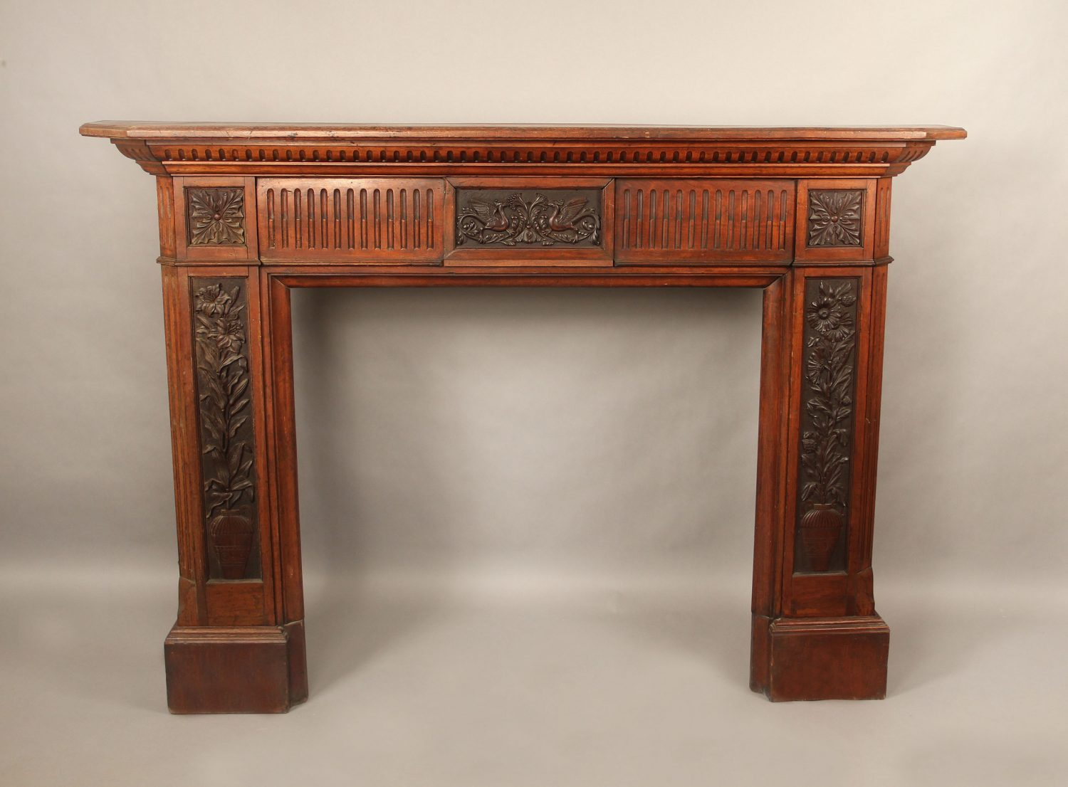 Late 19th Century Antique French Fireplace for Sale in NYC - Louis XVI Style Carved Wood Fireplace Surround
