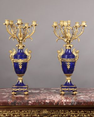 Fantastic Pair of Late 19th Century French Antique - Gilt Bronze & Lapis Lazuli Six Light Candelabra