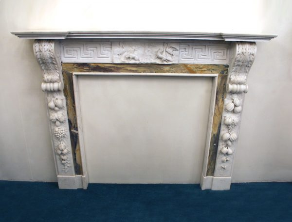 19th Century Antique Sienna and White Statuary Marble Fireplace Mantel