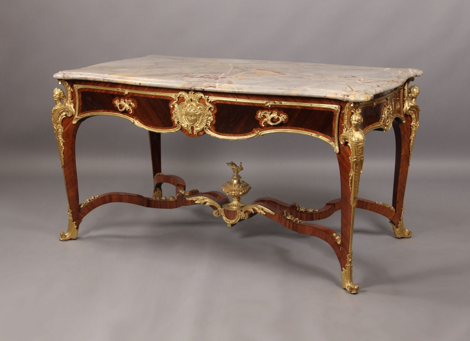 Gilt Bronze Mounted Louis XV Style Kingwood Center Table