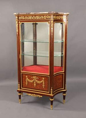 Early 20th Louis XVI Style Mounted Parquetry Vitrine