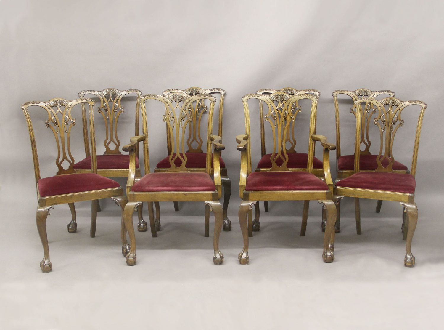 Set of Eight Late 19th Early 20th Century Chippendale Style Dining Chairs