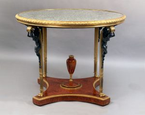 Late 19th / Early 20th Century Bronze Mounted Amboyna Center Table by Zwiener Jansen Successeur