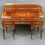 19th Century Antique Desk with Rectangle Top and Pierced Three Quarter Gallery and Three Drawers
