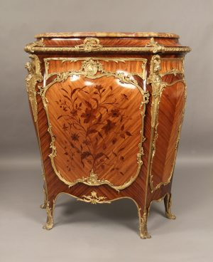 19th Century Antique Bronze Mounted Marquetry Kingwood Cabinet with Marble Top by Joseph Zwiener