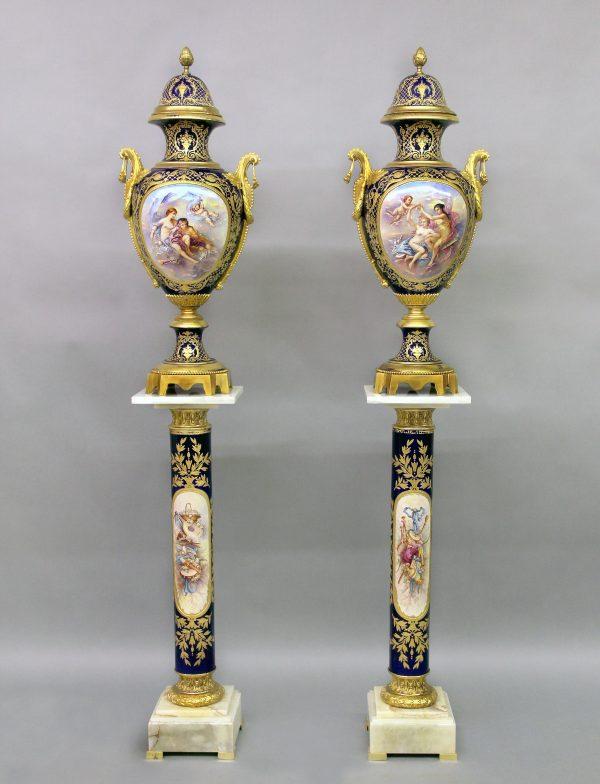 19th Century Sèvres Style Vases & Pedestals
