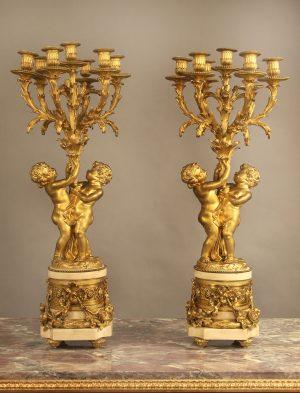 19th Century Pair of 7-light Candelabras