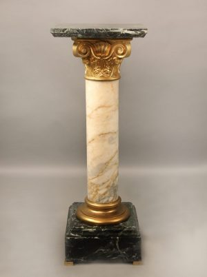 19th Century Gilt Bronze Mounted Green and White Marble Pedestal with Square Top and Stepped Base