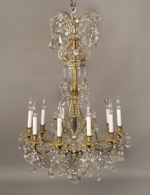 Lovely Late 19th Century Crystal Chandeliers - Gilt Bronze & Baccarat Crystal Fifteen Light Chandelier