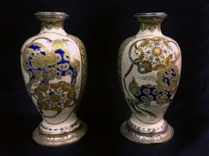 A Pair of Late 19th Century Silver Mounted Japanese Satsuma Porcelain Vases Painted with Lion Figures