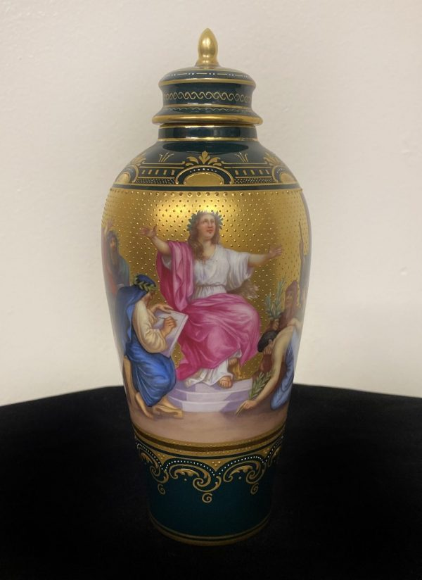 Late 19th Century Royal Vienna Porcelain Vase and Cover Painted with Figures of Apollo